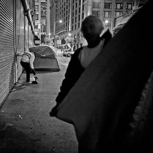 Two homeless men on the streets of skid row