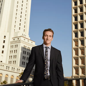 Ryan Burke standing in front of L.A. City Hall