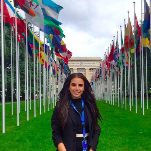 Nadine Iskandar in front of the UN flags for the BCLA Experience Internship pages